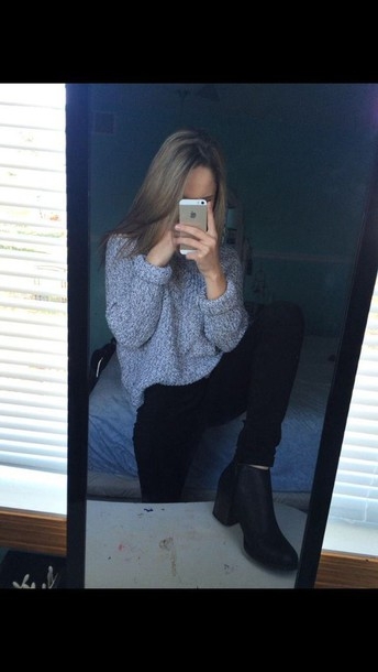 sweater eveything outfit tumblr girl shoes boots hipster