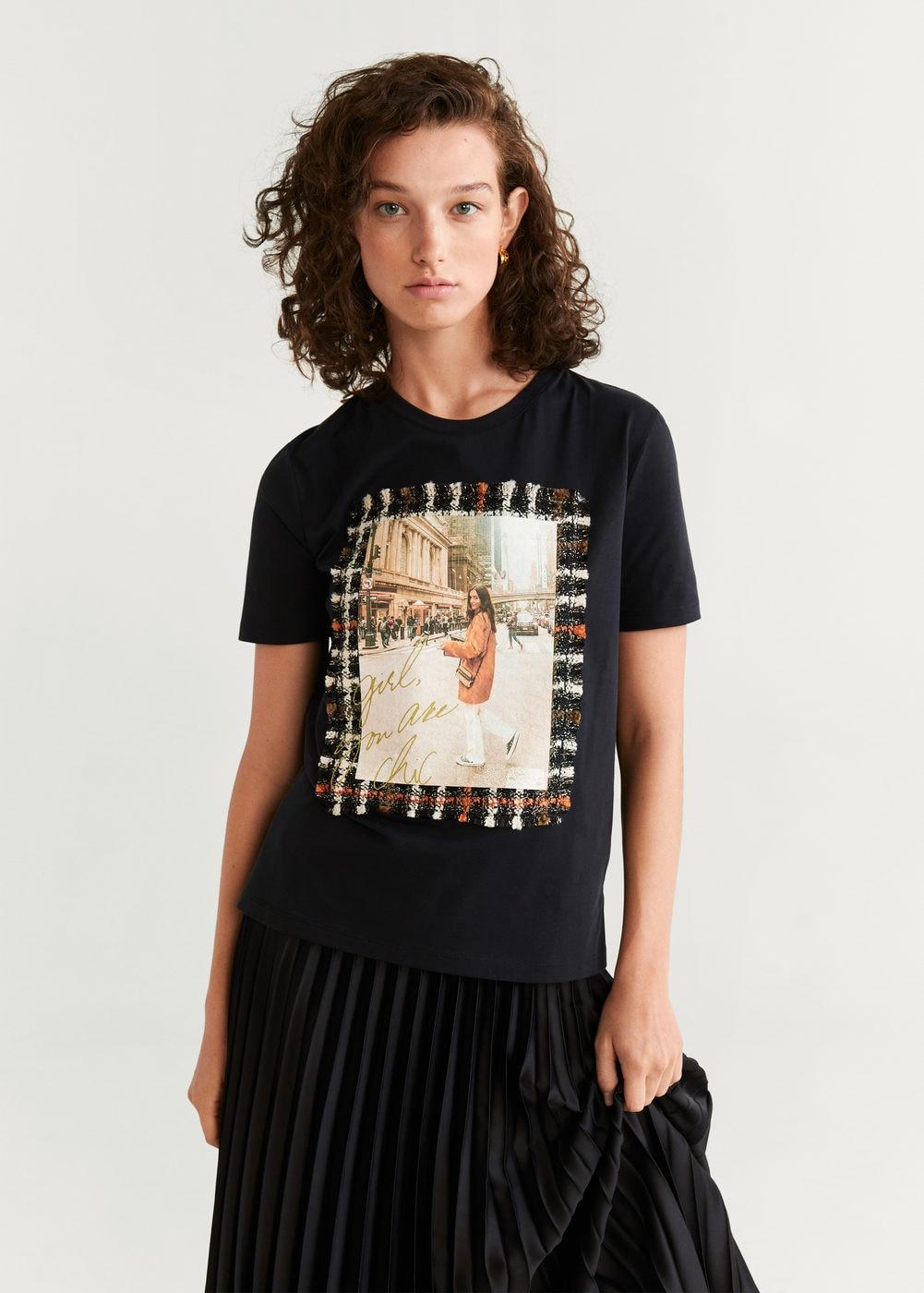 Camiseta imagen estampada - Camisetas y tops de Mujer | Mango España