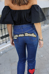 jeans,tumblr,patch,patched denim,denim,blue jeans,top,black top,off the shoulder,off the shoulder top,embellished denim,love quotes,valentines day