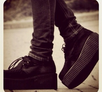 grunge creepers grunge shoes tumblr black hipster punk