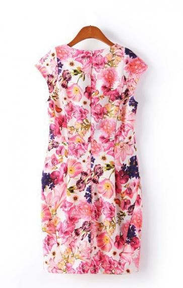 O-neck Sleeveless Figure-hugging Floral Dress