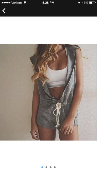 jumpsuit gray zip-up
