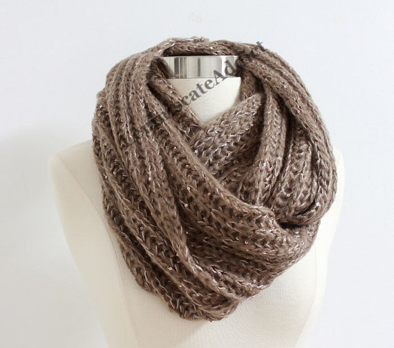 Chunky Mocha Brown Knit Scarf with Metallic by LemniscateAddict