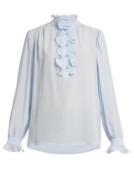 Stella McCartney blouse silk light blue light blue top