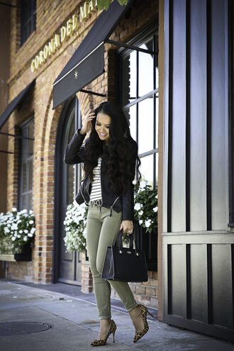 stylish petite blogger jacket sweater jeans shoes bag belt sunglasses fall outfits green pants faux leather jacket leather jacket high heel pumps pumps handbag