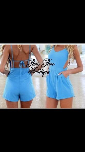 jumpsuit blue bluejumpsuit baby blue summer tan