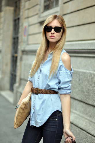 chiara the blonde salad blue shirt