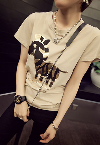 NewYorkscene | Gold Tone Horse Pattern Short Sleeve T Shirt | Online Store Powered by Storenvy