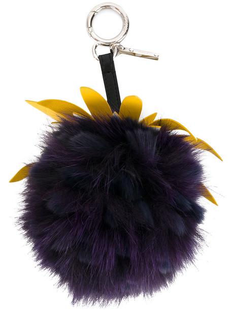 Fendi bag charm fur fox women bag leather purple pink fruits