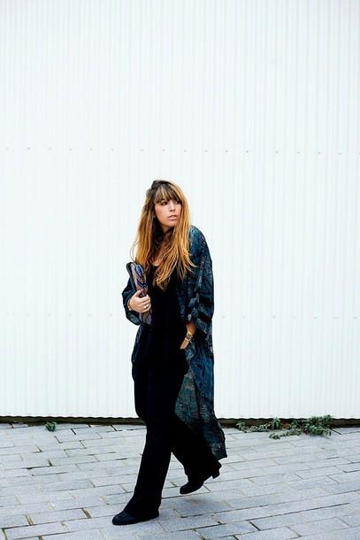 fringe and frange blogger kimono jeans shoes bag