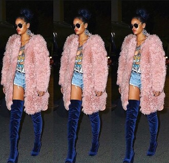 coat instagram rihanna tumblr tumblr girl tumblr outfit sexy boots fur coat blue pink denim shorts girly dope
