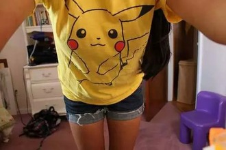 t-shirt pikachu yellow cute emo pokemon
