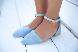 shoes light blue ballet flats flats open sides ankle strap baby blue cute