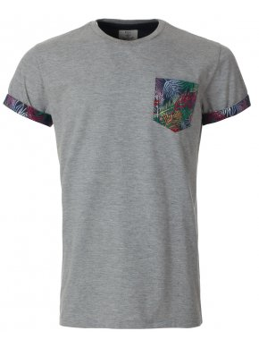 Mens Grey Tropic Pocket T-Shirt