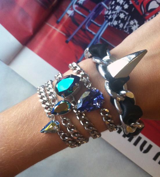 jewels leather bracelet chain jewelry