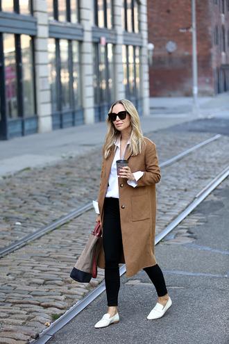 coat tumblr camel camel coat shirt white shirt denim jeans black jeans skinny jeans white shoes shoes sunglasses