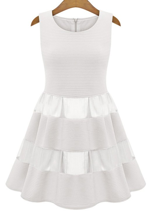 Ivory Sleeveless Contrast Mesh Yoke Ruffle Dress - abaday.com