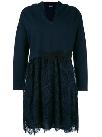 dress embroidered women spandex cotton blue