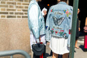 jacket,tumblr,denim jacket,embroidered,embroidered jacket,bomber jacket,satin bomber,baby blue,bag,black bag