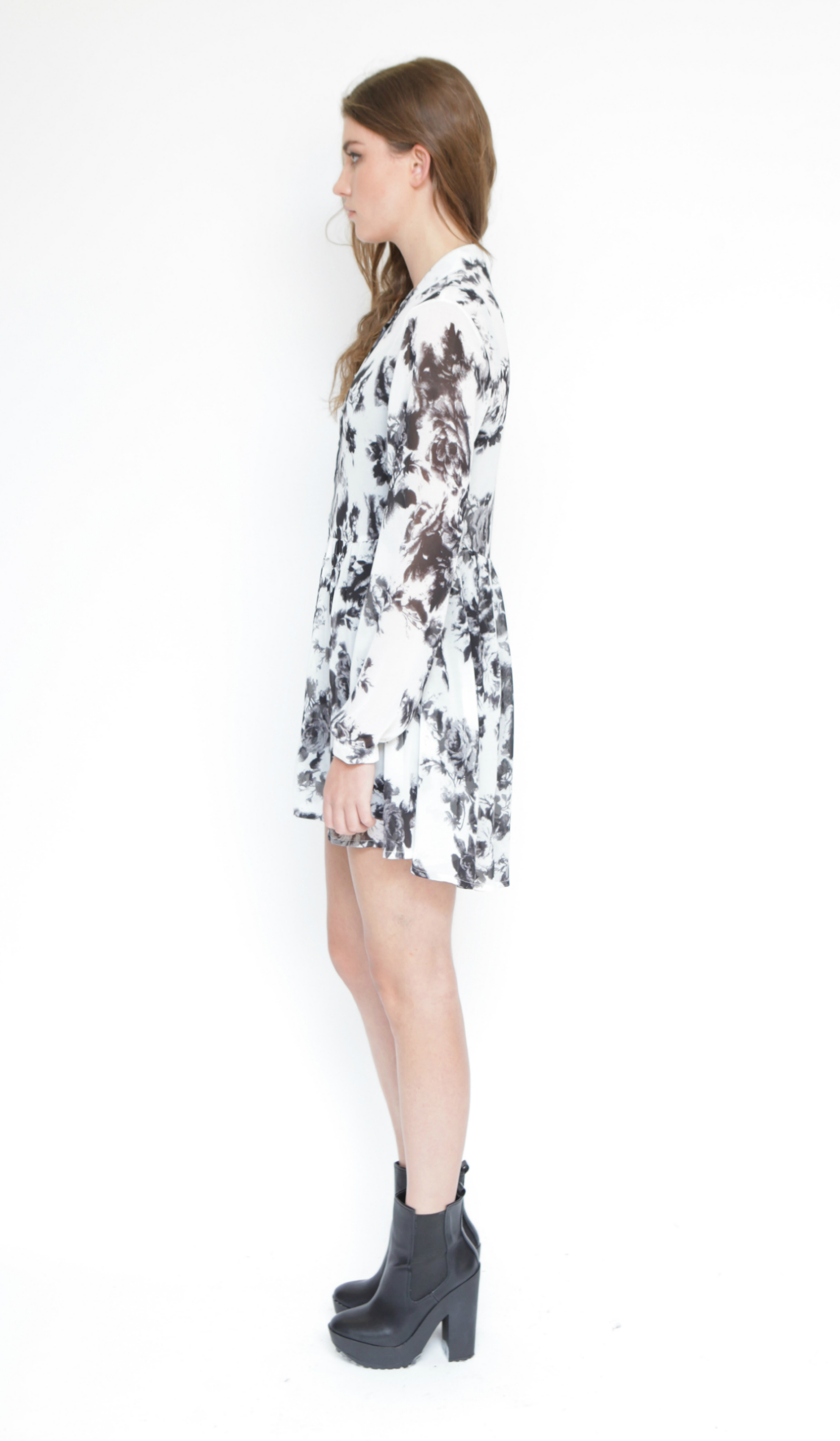 Black and ivory rose print chiffon shirt dress
