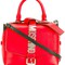Moschino logo plaque tote, women's, red