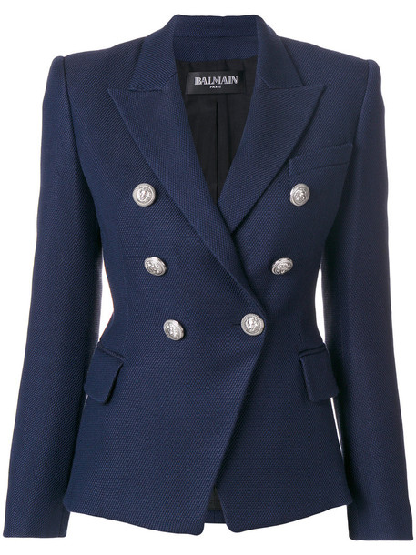 Balmain blazer women embellished cotton blue wool jacket