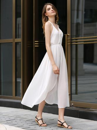 dress white summer flowy maxi spring romantic summer dress trendy dressfo