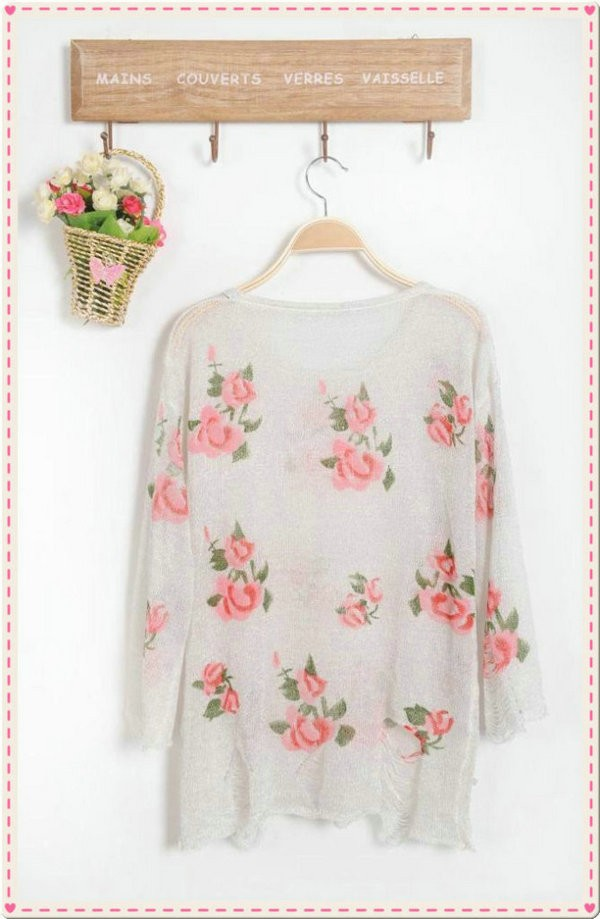 Women Fashion Vintage Rose Flower Hollow Holes Knitwear Sweater Top Shirt New Hot Free Shipping-in Pullovers from Apparel & Accessories on Aliexpress.com