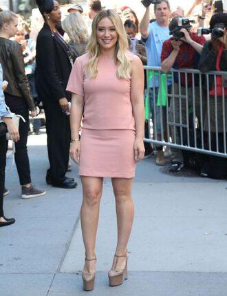 dress pink pink dress dusty pink hilary duff platform sandals mini dress