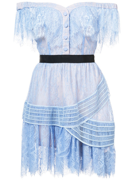 self-portrait dress shift dress embroidered women lace cotton blue