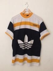 t-shirt,sportswear,yellow,adidas,vintage,retro,white,black,awesome style,menswear,women