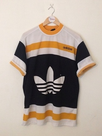 t-shirt sportswear yellow adidas vintage retro white black awesome style menswear women
