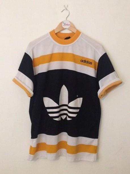 T shirt sportswear yellow adidas vintage wheretoget for Adidas classic t shirt