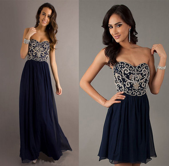Formal long/short evening ball gown party prom bridesmaid dress stock size 6