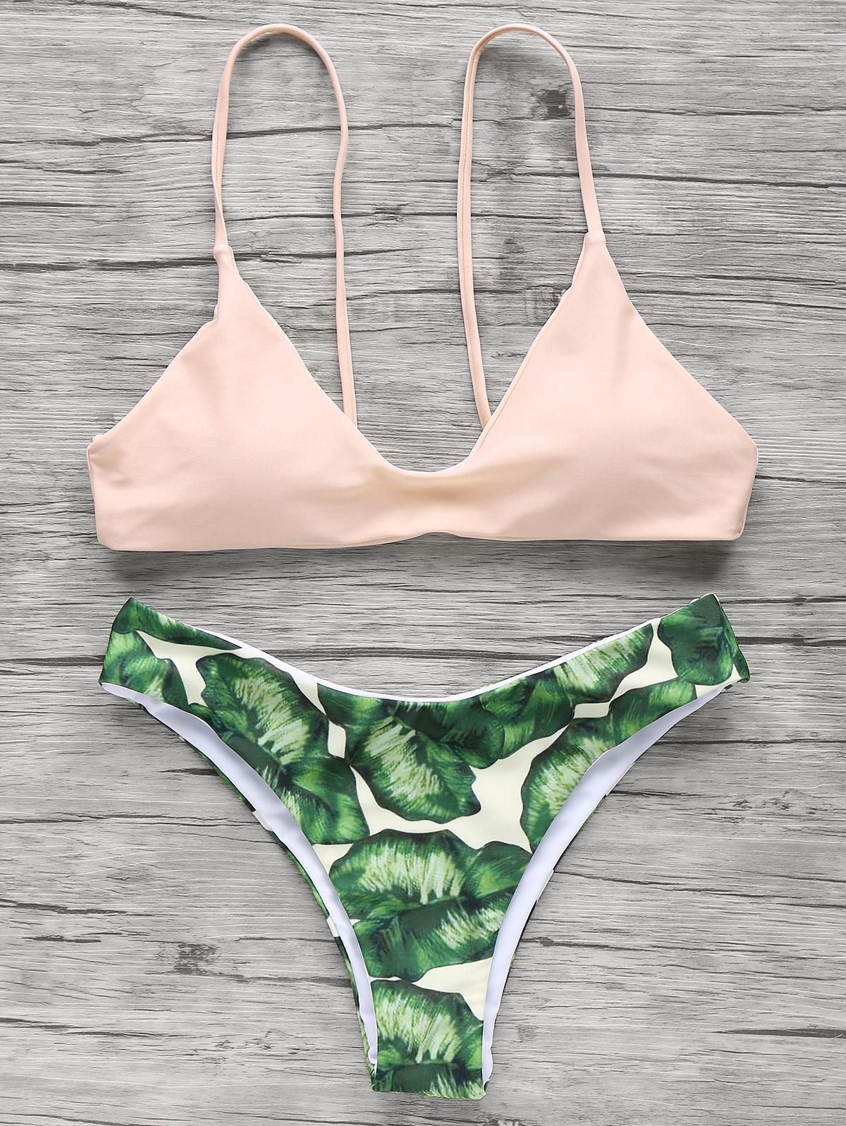 Fashion Print Spaghetti Straps Bikini Set For Women