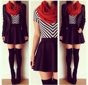 shirt,scarf,t-shirt,underwear,skirt,shoes,chevron,black stripes,white stripes,short sleeve,stripes