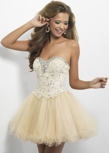 dress, prom, short dress, jewels, glitter dress, gold sequins, gold ...