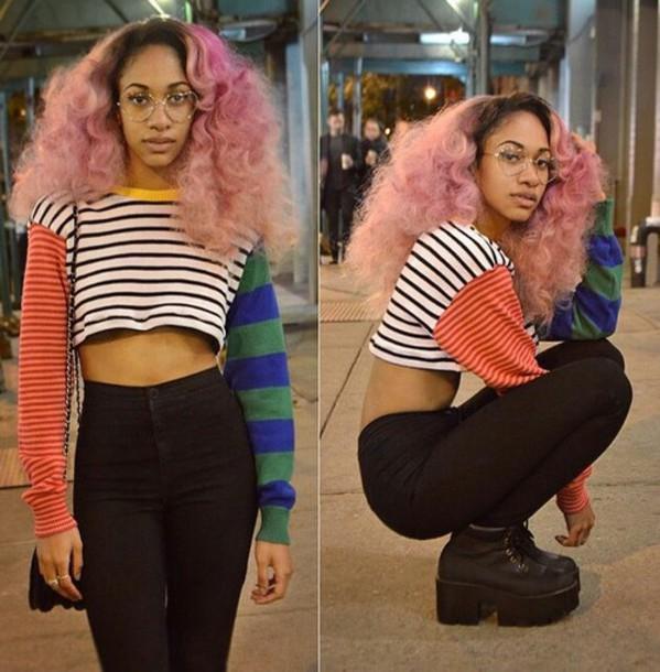 top crop tops colorblock striped top jeans