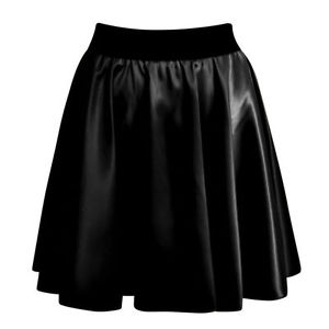 NEW WOMENS LADIES SEXY HIGH WAIST FAUX LEATHER WET LOOK SKATER MINI FLARED SKIRT | eBay