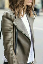 jacket,perfecto,vest,cuir,leather jacket,nude,grunge,beige