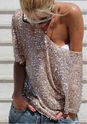 shirt,sequins,beaded,gold,off the shoulder,clothes,slouchy,sheer shirt,blouse,sweater,oversized,glitter,casual,top,sequin top,sequin off the shoulder,cute sweaters,cute outfits,gold sequins,sparkle,off the shoulder sequin top.