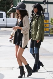 dress,selena gomez,cardigan,hat,shoes