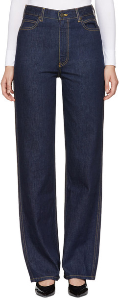 jeans straight jeans high blue