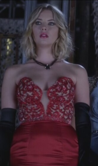 dress ashley benson gown prom hanna marin pretty little liars strapless prom dress