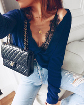 sweater,gold necklace,tumblr,cropped sweater,blue sweater,long sleeve crop top,crop tops,underwear,lingerie,lace lingerie,sexy,bag,necklace