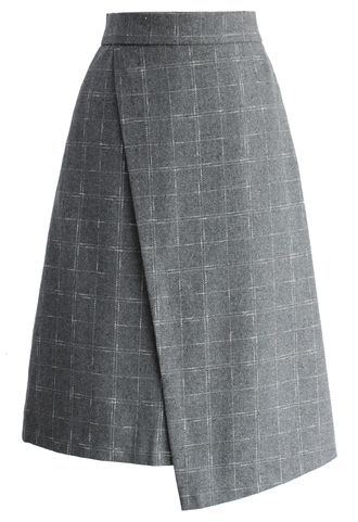 skirt asymmetric grid skirt in grey grid grey chicwish