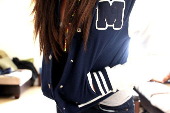 alexa varsity jacket navy blue white teddy