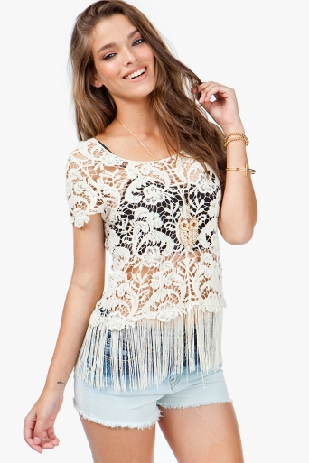 Agaci Fringe Crochet Top Tops