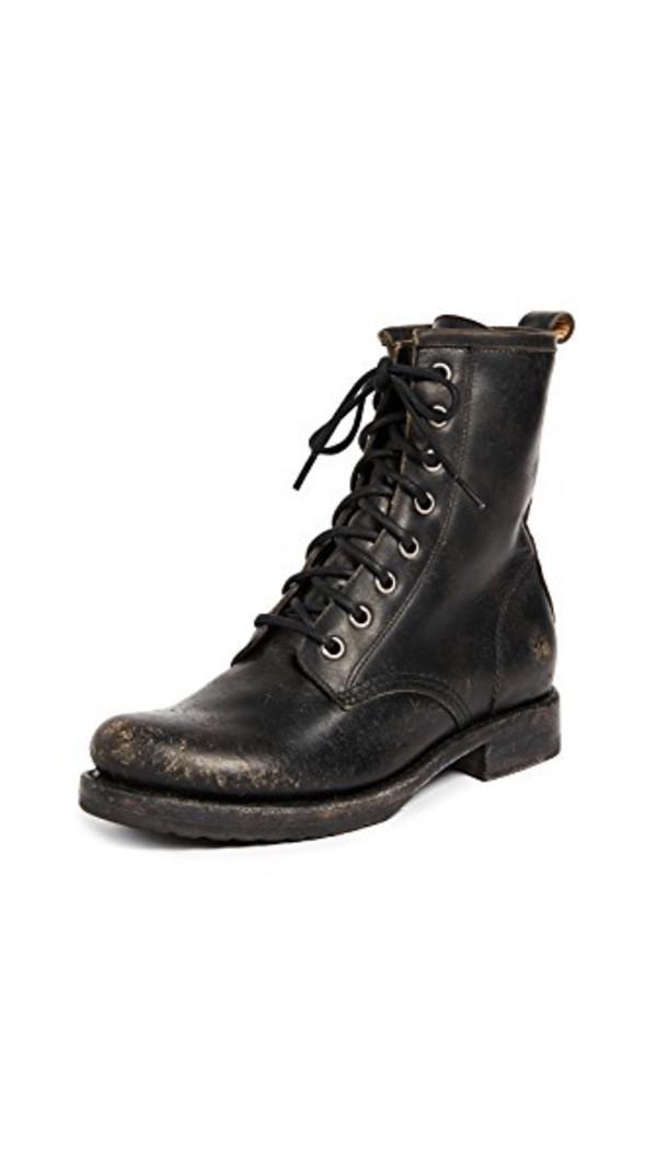Frye Veronica Combat Boots in black