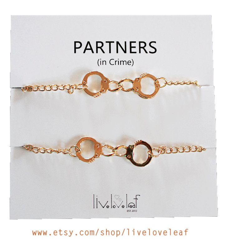 Set of 2 Gold plated Handcuffs Bracelets for Best Friends aka Partners in Crime bracelet BFF jewelry Gift ideas for her - stocking stuffer